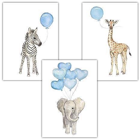 Frechdax 3er Set Kinderzimmer Wandbilder Kinderzimmer Junge Dekoration Babyzimmer Junge 3er Set Blau Elefant Giraffe Zebra