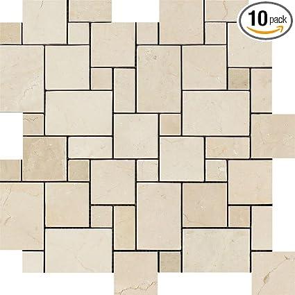 Crema Marfil Polished Marble Mini Versailles Pattern Mosaic Enchanting Versaille Pattern