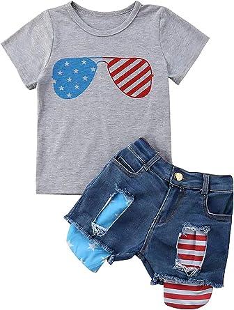 Toddler Kids Baby Girl Summer Tops T-shirt Denim Shorts 2Pcs Outfits Clothes US