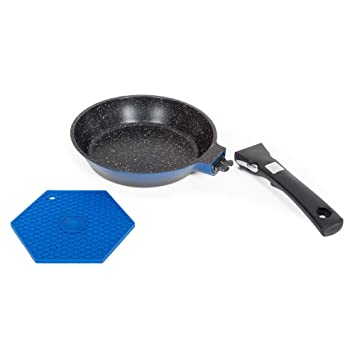 Laguiole Grand Cru - Sartén con efecto de piedra, mango desmontable, azul, calidad