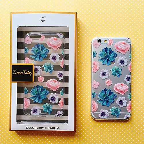 iPhone 6 Plus / 6s Plus Compatible, Colorful Rubber Flexible Silicone Case Bumper Clear Cover Case  - Poppy Daisy Succulent Flower Floral Overload -