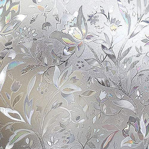 RABBITGOO Premium No Glue 3d Static Decorative Frosted Privacy Window Films for Glass,23.6in. by 78.7in. (60 X 200cm) Upgrade Version for Home Kitchen Office by RABBITGOO