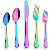 Berglander Flatware Set 20 Piece, Stainless Steel With Titanium Colorful Plated, Multicolor Flatware Set, Silverware, Rainbow