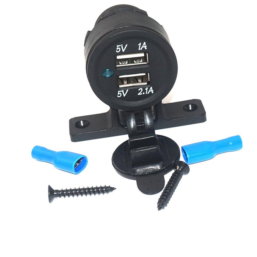 linchview Dual USB prise encastrable voiture RV Bottes moto Caravane 5 V 3,1 A 12 V kfzs Adaptateur de chargeur pour Navi, Té lé phone portable, GPS 1A 12V kfzs Adaptateur de chargeur pour Navi Téléphone portable 271665354