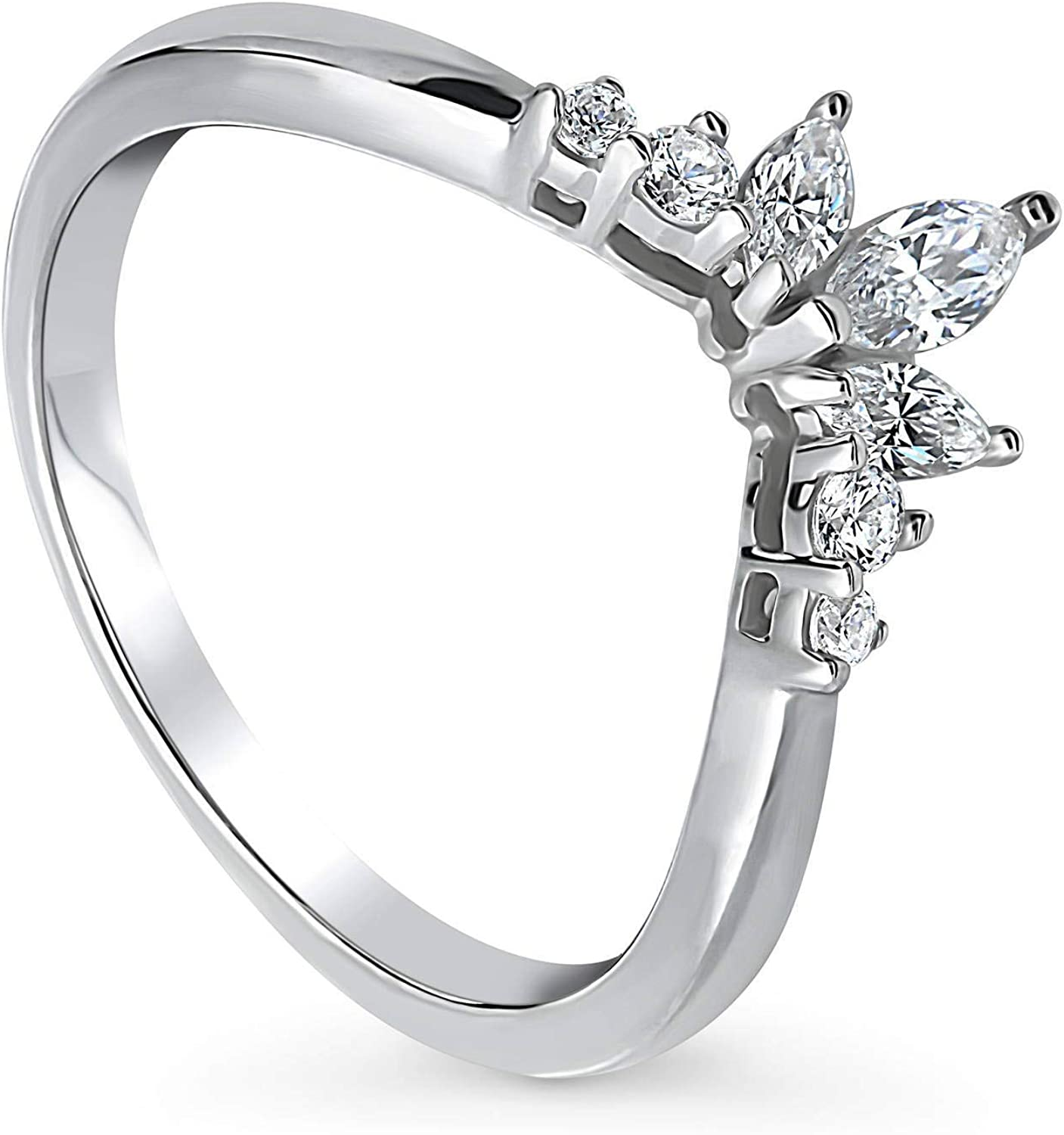 Sterling Silver Ring Rhodium-Plated Flower Band New