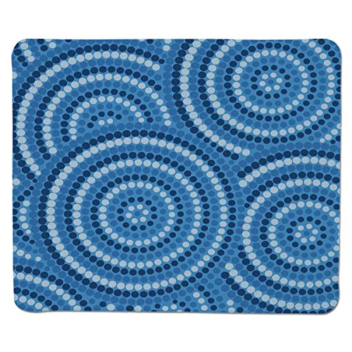 Mouse Pad Unique Custom Printed Mousepad [ Navy Blue Decor,Abstract Aboriginal Ethnic Indigenous Australian Mosaic Style Dots Boho Art,Dark Blue ] Stitched Edge Non Slip Rubber
