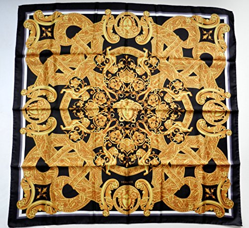 Versace Baroque-inspired Print Silk with Medusa Motif Silk Scarf 35x35 in - Inspired Versace By