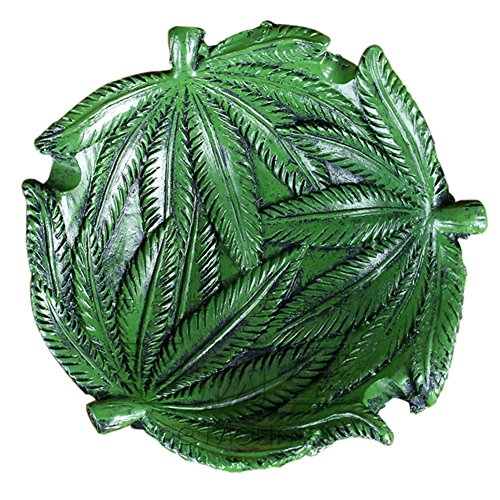Ozzptuu Resin Hempleaf Pot Leaf Weed Cigar Cigarette Smoke Ashtrays Holder for Home Office - Pot Leaf Ashtray