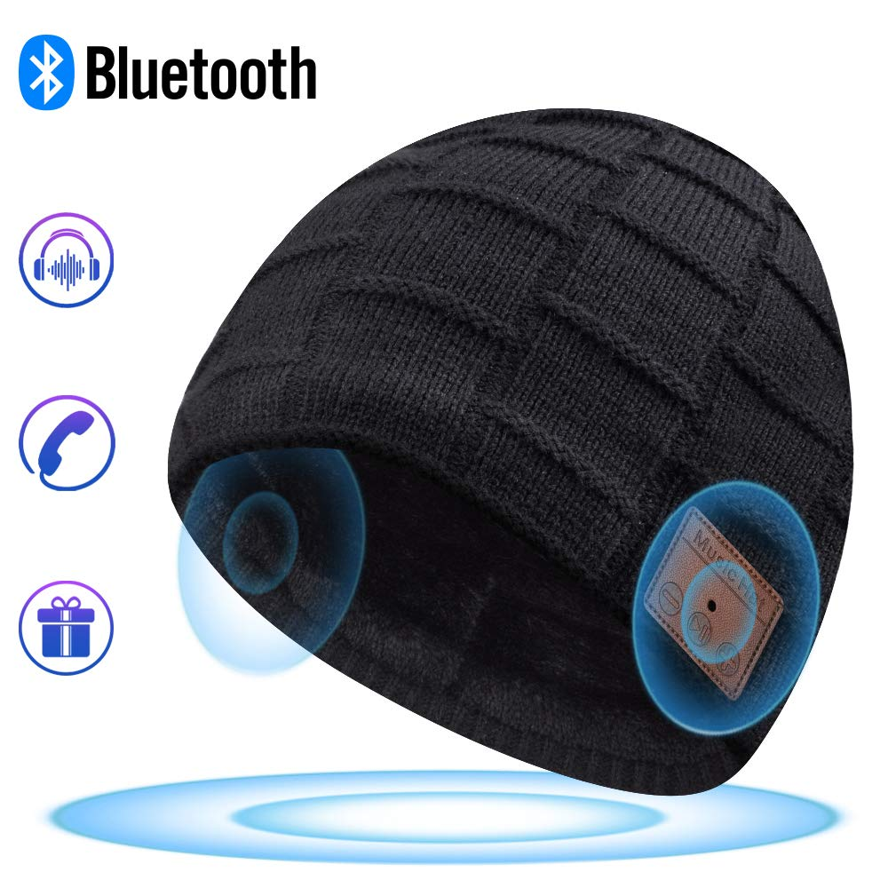 Bluetooth Beanie, Bluetooth Hat, Mens Gifts, Women Mens Beanie Hats with Bluetooth Headphones, Fits for Outdoor Sports, Skiing ,Running, Skating, Walking, Christmas Birthday Gifts for Men Women