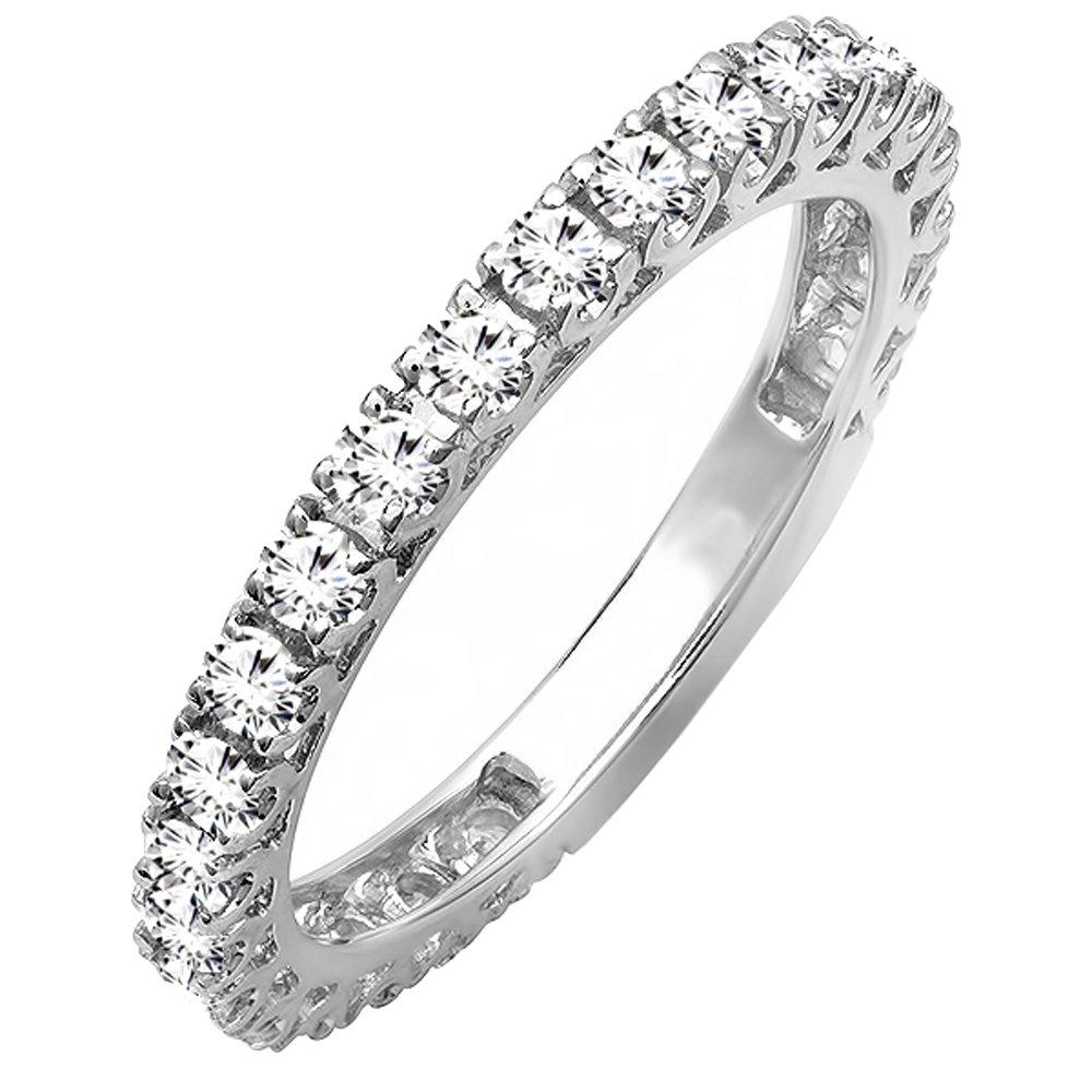 0.95 Carat (ctw) 14K White Gold Round White Diamond Eternity Wedding Band 1 CT (Size 6.5)