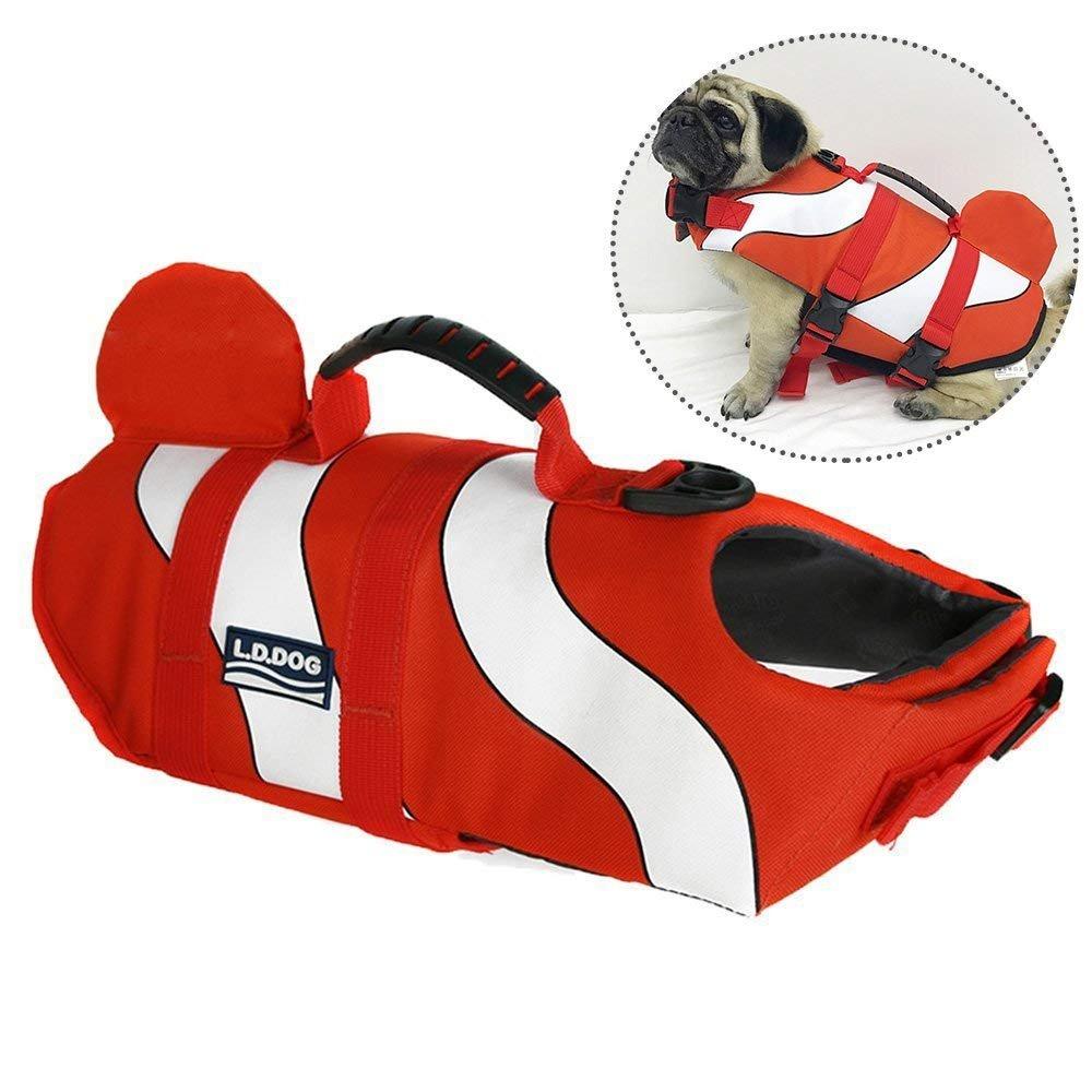 JunBo Clownfish Shaped Dog Life Vest Fashionable Swimming Vest Pet Life Jacket (Size L)