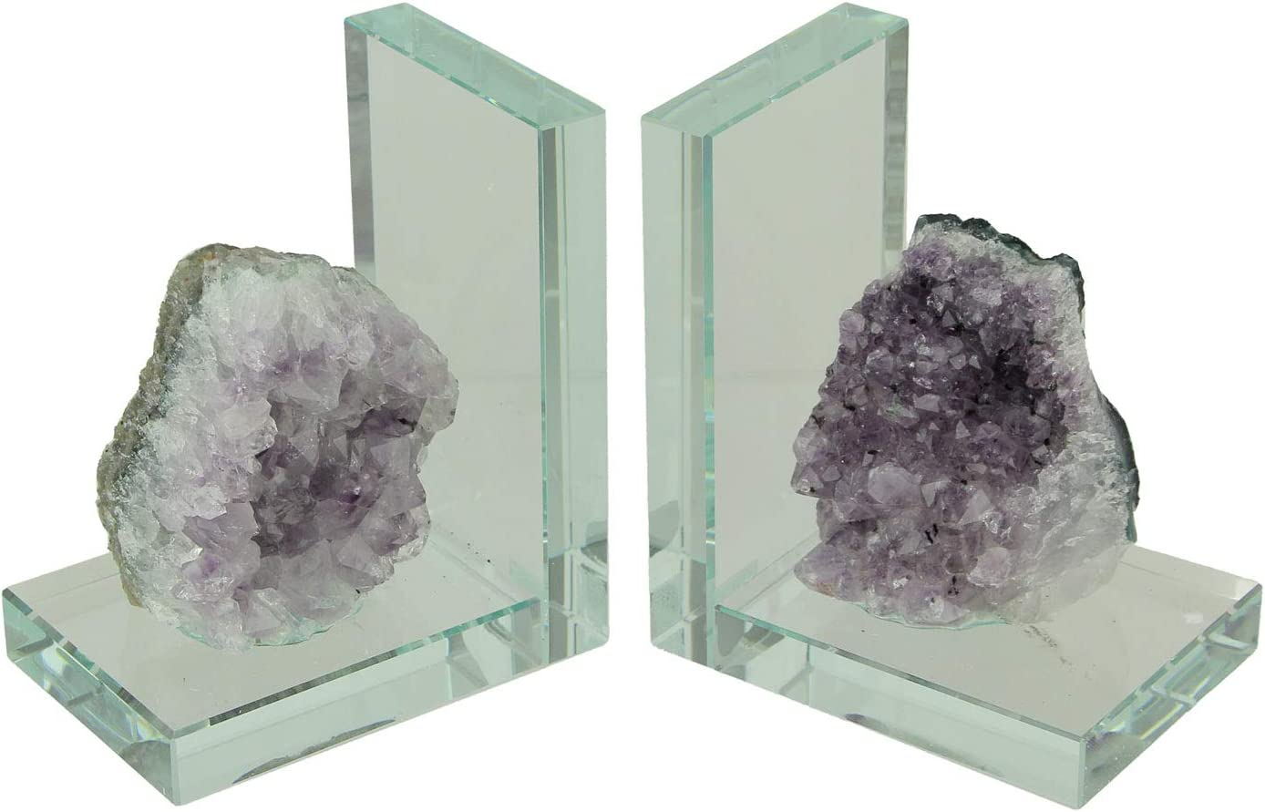 Natural Amethyst Quartz Crystal On Clear Glass Mount Bookends Set