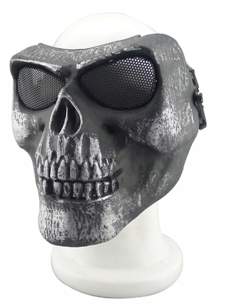 ISEYMI Metallic Mask For Bicycling/ Halloween/ Skull Skeleton/ Airsoft/ Paintball/ BB Gun, A Full Face Protection Mask Shot Helmets by ISEYMI