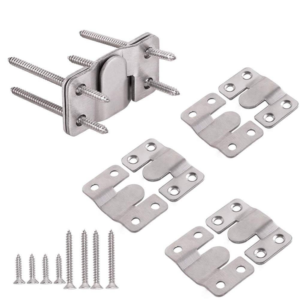 Furniture Flush Mount Bracket- Headboard Wall Mount Hardware- Large Picture  Hangers- Heavy Duty Photo Frame Hook- Stainless Steel Interlocking Z Clips  for Large Picture Display Art Gallery (4 Sets): Amazon.in: Home &