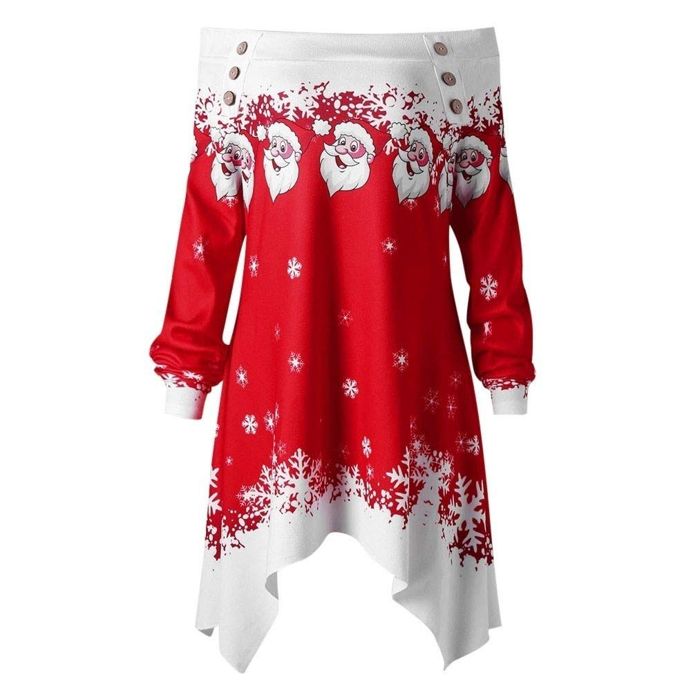 AMUSTER Damen Frohe Weihnachten Santa Snowflake Print Off Schulter Tops Pullover Langarm lange Bluse Shirt Kleid Frauen Mä dchen Weihnachten Geschenk Pullover Bluse