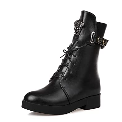 Women's Soft Leather Lace-Up Round Closed Toe High-Heels Low-Top Boots