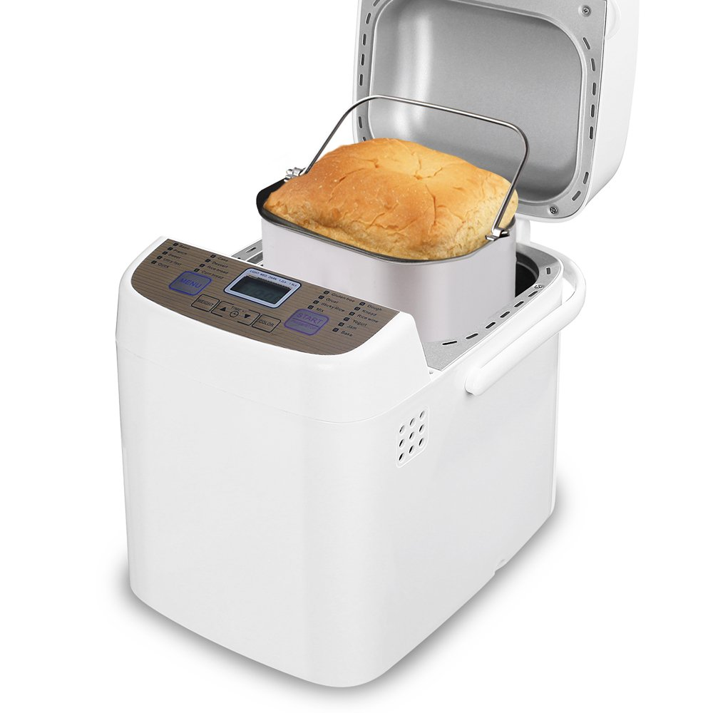 LATITOP Programmable Bread Machine with Gluten-free Setting, Removable Non-stick Pan, 19 Menus, 15 Hours Preset, 3 Crust Colors, 2 Loaf Sizes, Jam Setting, Automatically Keep Warm 1 Hour
