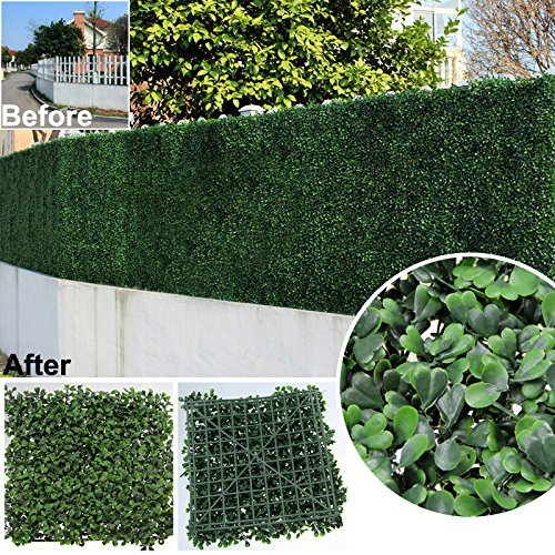 Artificial-Hedge-BOXWOOD-covers-33-SQ-feet-adds-protection-privacy-fences-box-consist-of-12-packs-20-x-20-UV-PROTECTION-GENPAR-brand-name-INSTALL-DIY-15-YEARS-life-span-Huge-stock