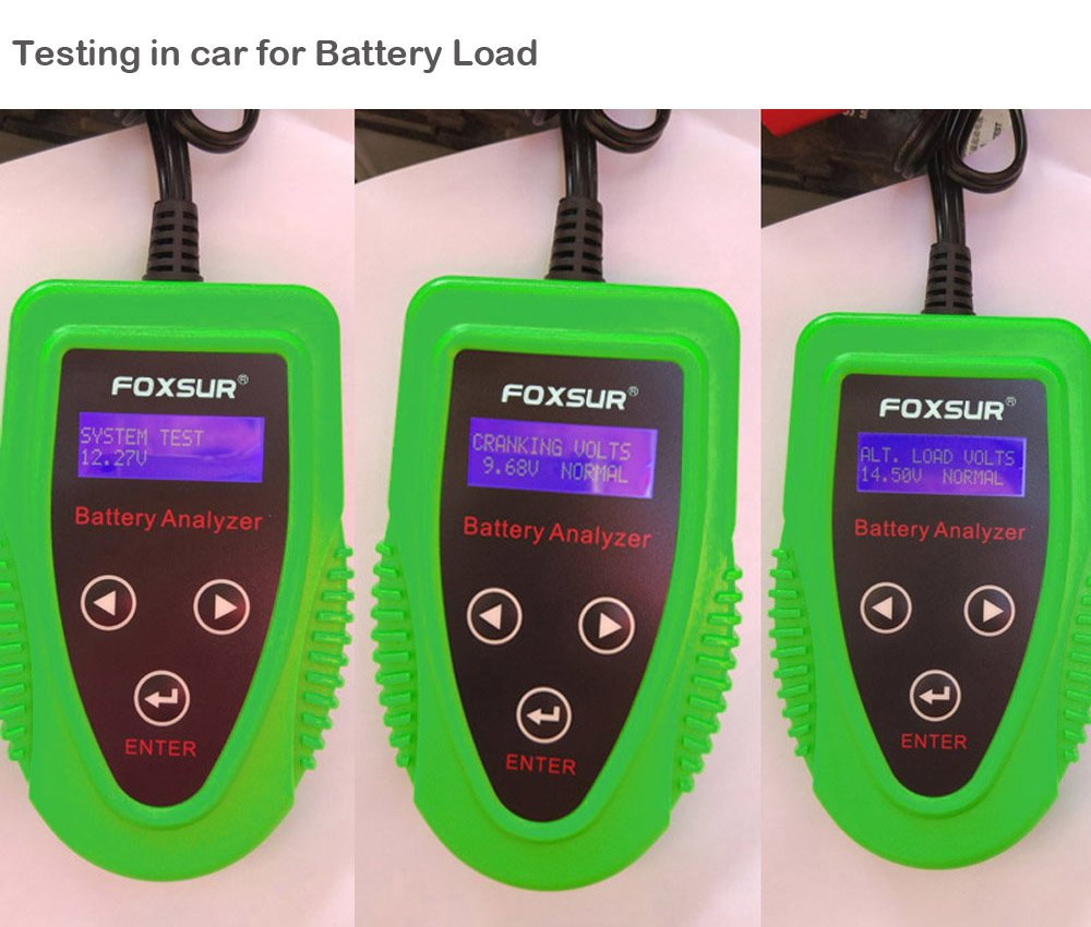 FOXSUR Digital 12V Car Battery Tester, Starting and Charging System Tester and Analyzer Of Battery Life ,IR,Voltage, Resistance and CCA Value For Flood, Gel, AGM, Deep Cycle Battery by FOXSUR (Image #7)