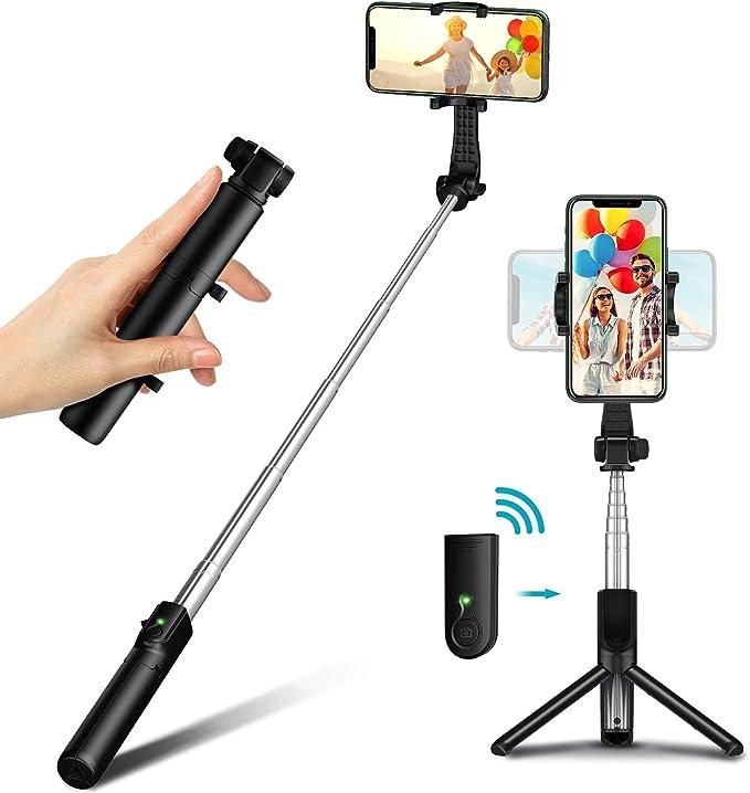 Mini Extendable 3 in 1 Aluminum Phone Tripod Selfie Stick with Wireless Remote Compatible with iPhone 12//12 Pro//12 Mini//11 Pro Max//11 Pro//11//XS//XS Max//XR//X//8 Bovon Bluetooth Selfie Stick Tripod More