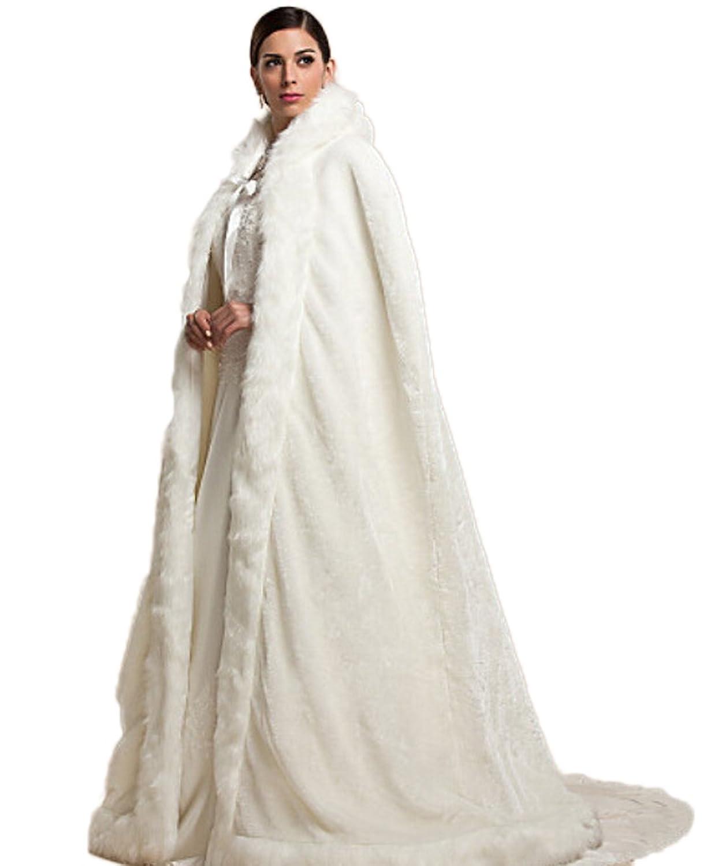 RMdress Elfenbein Warm Winter Pelz Lang Braut Mantel Bolero Umhang ...
