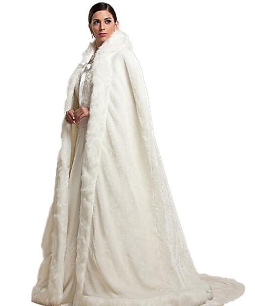 RMdress Marfil cálido Invierno Pelo Largo Novia Abrigo Bolero Estola Capa Novia Bufanda Estola para Vestido de Novia Vestido de Boda Beige Talla única: ...