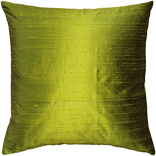 PILLOW DÉCOR Sankara Chartreuse Green Silk Throw Pillow 16x16