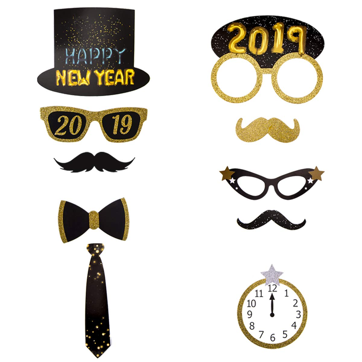 Happy New Year Photo Booth Props/ 32Pcs,2019 New Year Party Pose Sign,New Year Countdown Party Photo Props,New Year Decoration