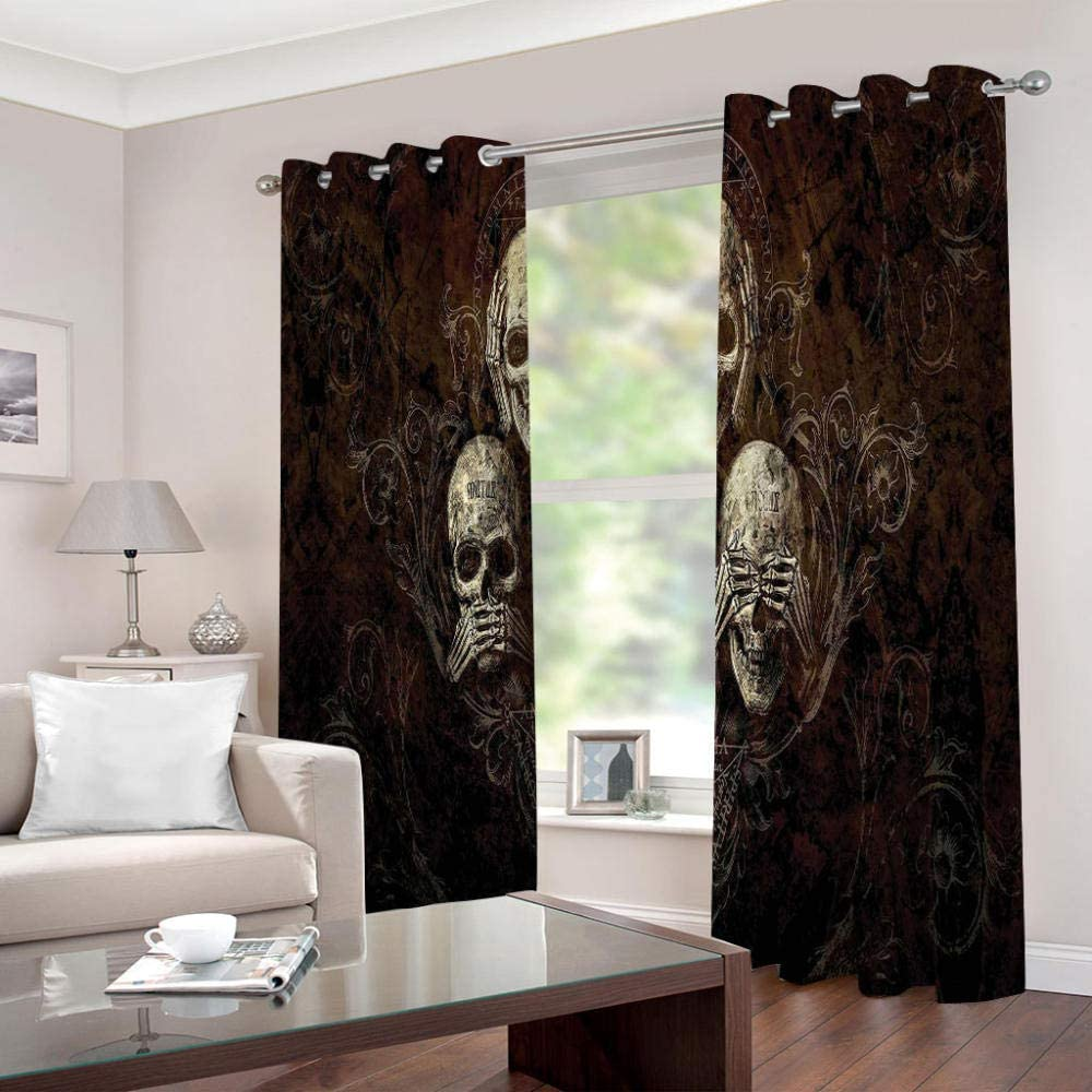 LIGAHUI Eyelet Blackout Curtains skull 2x W46x L54 inch Thermal Insulated Room Darkening Curtains for Plain Room darkening Nursery Bedroom Windows treatment