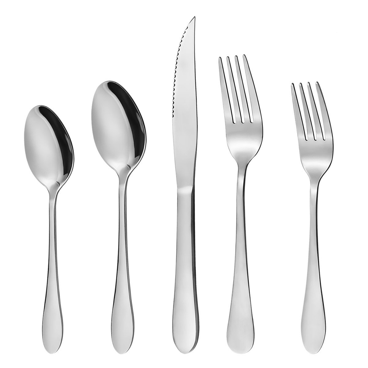 20-Piece Stainless Steel Silverware Flatware Set Cutlery Utensils Set for Kitchen Hotel Restaurant Wedding Party Mirror Polished Knife Fork Spoon Dishwasher Safe Anti-Scald Multipurpose Use Yoobure