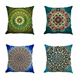 Set of 4 Retro Floral Mandala Compass Medallion Bohemian Boho Style Summer Decor Cushion Case Decorative for Sofa Couch 18' x 18' Inch Cotton Line (Moroccan Style)