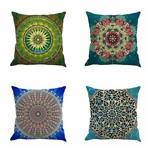 Set of 4 Retro Floral Mandala Compass Medallion Bohemian Boho Style Summer Decor Cushion Case Decorative for Sofa Couch 18