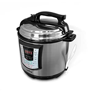 NutriChef High Power Stainless Steel Electric Pressure Cooker - 6 Quart Programmable Digital Instant Pot Multi Recipes Cooker with 10 Preset Modes, Lock Top Lid, Adjustable Temp and Timer - PKPRC22