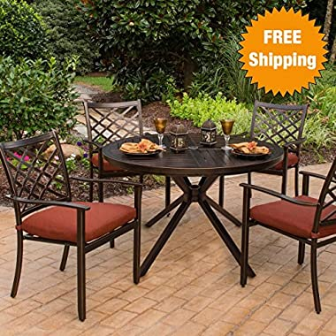Haywood 5-Piece Outdoor Dining Set (4 Dining Chairs & 1 Table) - Weather-Resistant Sunbrella® Fabric - Alumicast & Rust-Free Aluminum Frames