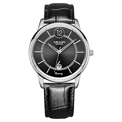 North King Cuero Negro Relojes de Cuarzo Relojes visualización Reloj Moda de Hombres de Banda agradables