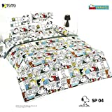 SNOOPY PEANUTS Bed In a Bag Set (King Size,SP04); 1 Four Season Comforter with 4 pieces of Bed Fitted Sheet Set