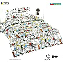 Snoopy & Peanut Family Bed Fitted Sheet Set (Queen Size,SP04) ; 4 Pieces set(1 Bed Fitted Sheet, 2 Standard Pillow Case and 1 Standard Bolster Case)