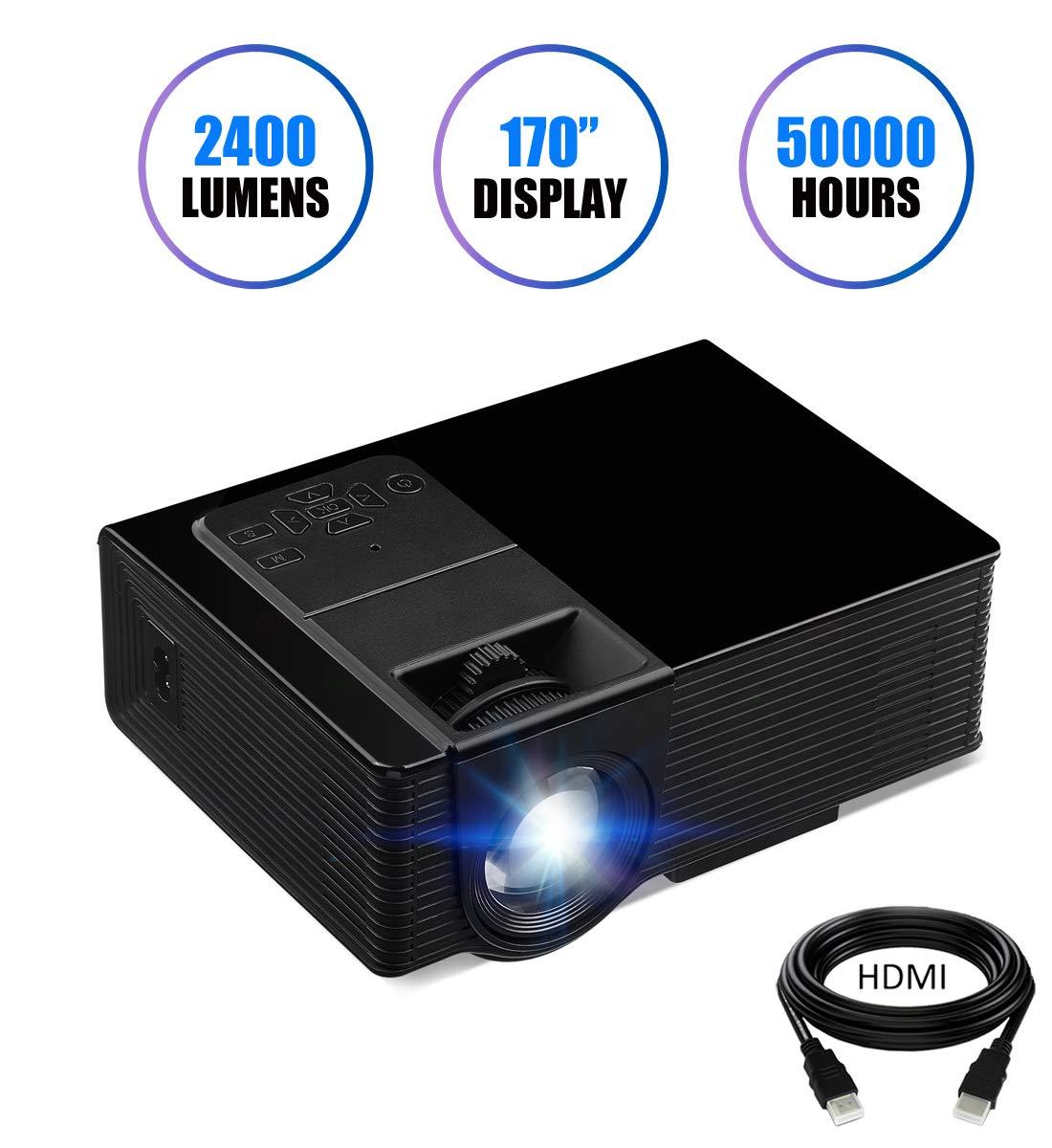 KUAK プロジェクター ミニプロジェクター 2400ルーメン 170インチ ディスプレイ ポータブル HD ホームシアター LED ビデオプロジェクター 1080P HDMI VGA USB AV Mirco SD スマートフォンノートパソコン対応 BK314 B0748DVX46 2019 HT50