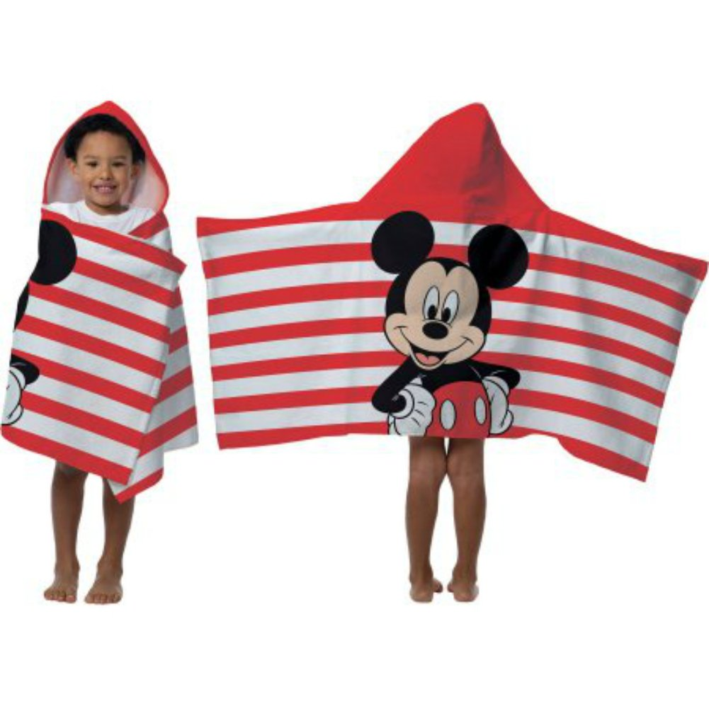 2016 Disney Mickey Mouse Hooded Towel Wrap 22'' X 51'' Red And White Stripes With Mickey