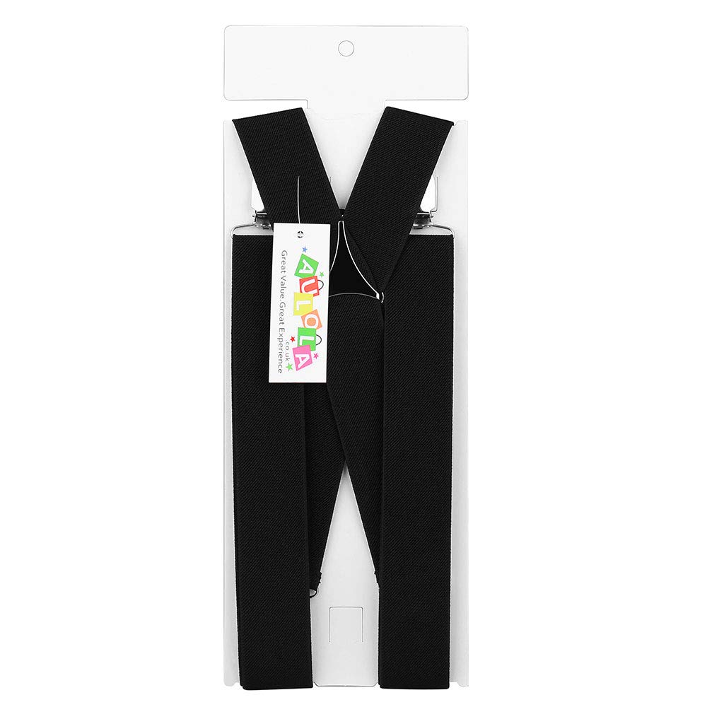 a6f43482a7dd5 Bretelles de pantalon ajustables pour homme - Élastique noir large de 50 mm  - Bretelles en forme de X avec clips en métal solides - Robustes
