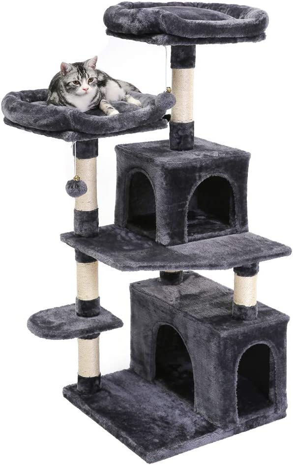 SUPERJARE 48 Inches Cat Tree Tower, Multi-Level Kitten Play House with Cozy Perches, Plush Condos and Sisal Scratching Posts