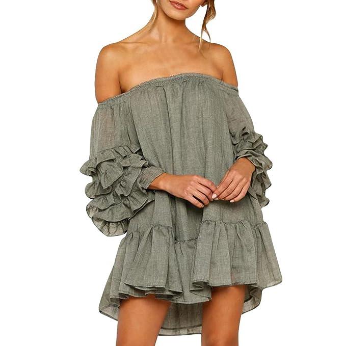 80b64626571c TheRang Women s Off Shoulder Dress Loose Ruffled Layered Sleeved Evening  Party Short Mini Dress Green S