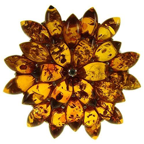 - BALTIC AMBER AND STERLING SILVER 925 DESIGNER COGNAC FLOWER LEAF BROOCH PIN JEWELLERY JEWELRY