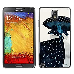 LASTONE PHONE CASE / Slim Protector Hard Shell Cover Case for Samsung Note 3 N9000 N9002 N9005 / Cool Rain Sad Gray Lady Woman