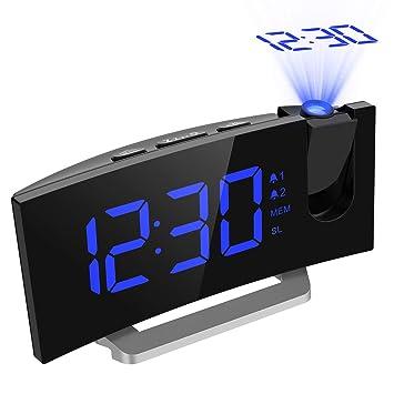 Mpow FM Radio Reloj Despertador con Proyector de Alarma Dual con 4 Sonidos, 3 Tonos, 5 Brillos, Pantalla LED 5