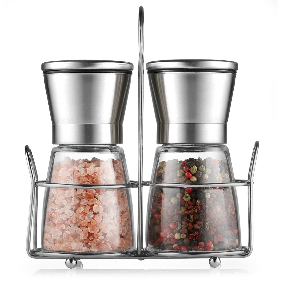 CMXING Salt and Pepper Grinder Set - Premium Salt & Pepper Mill Set with Adjustable Ceramic Coarseness - Brushed Stainless Steel and Glass Body Shakers ,Set of 2 (Included Holder)(Long)