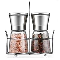 Cmxing Pfeffermühle Set mit Ständer Manuelle Gewürzmühle mit Mahlwerk aus Keramik Glas Salzmühle