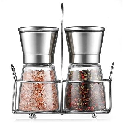 Saleros y pimenteros,CMXING Molinillo de sal y pimienta con Precisión de Grosor Ajustable Acero