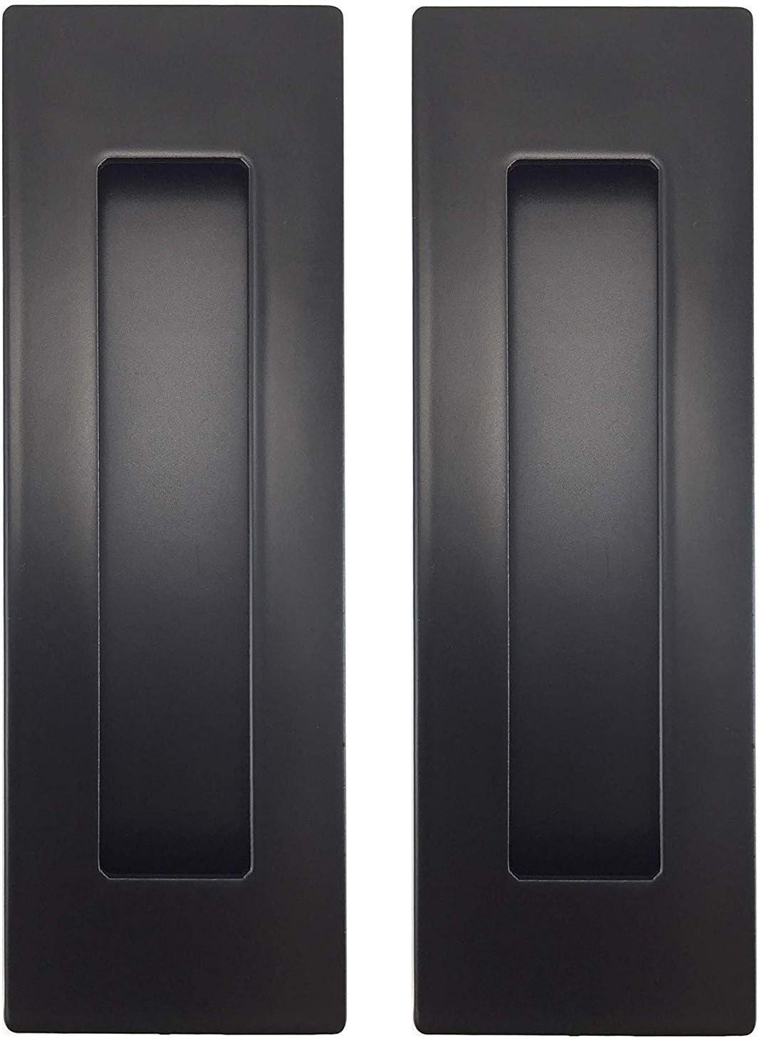 "Flush Pull Barn Door Handle (2 Pack) 6"" Black   No Sharp Edge   Screws Included (Black)"