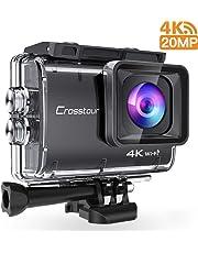 Crosstour Action Cam 4K 20MP Fotocamera WiFi Subacquea 40m Anti Shake Time Lapse e Registrazione Loop Plus 2 Batterie Ricaricabili 1350mAh Caricabatterie USB e Accessori